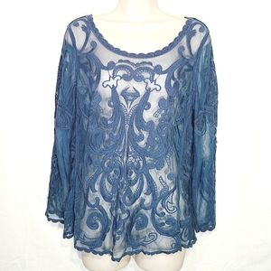 Express | Embroidered & Mesh Top Size M